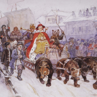 Big masquerade in 1722 on the streets of Moscow with the participation of Peter I and Prince I. F. Romodanovsky