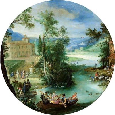Paul Brill. Allegory of spring (the company in the boat) 1598