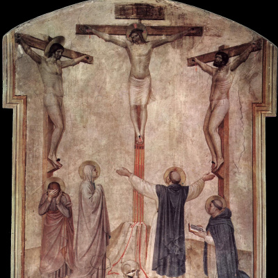 Crucifixion of Christ and the two thieves. Fresco of the Monastery of San Marco, Florence