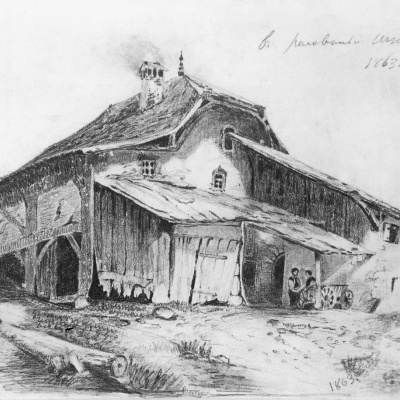 Rural cabin. A copy of the picture of Alexander Calama