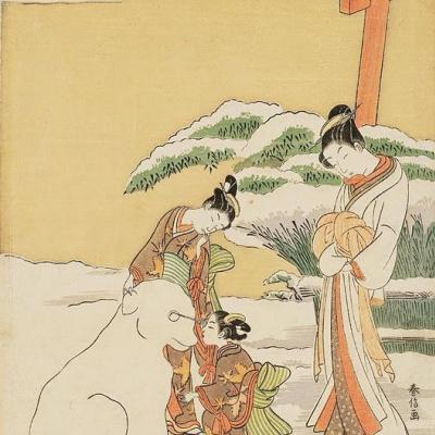 Куртизанка наблюдает, как камуро лепят снежного пса