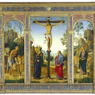 The crucifixion with the Madonna, St John the Baptist, Saint Jerome, Mary Magdalene