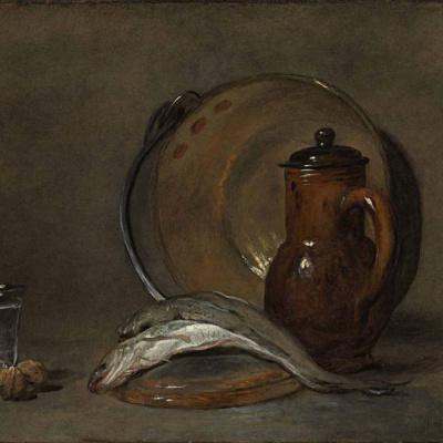 Still life with copper pot, jug, fish, glass