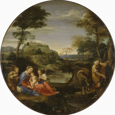 Annibale Carracci. The rest of the Holy Family on the flight into Egypt
