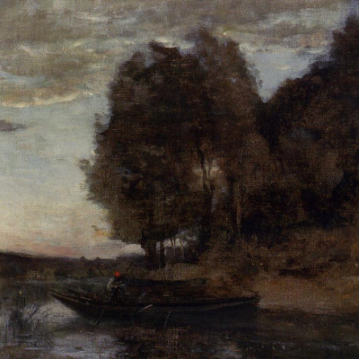 Fisherman and forest landscape