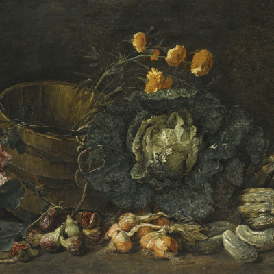 Still life with onions, figs, cucumber, cabbage and flowers