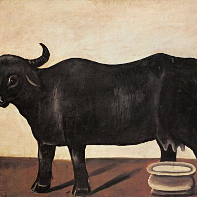 Черная буйволица на белом фоне. Часть диптиха