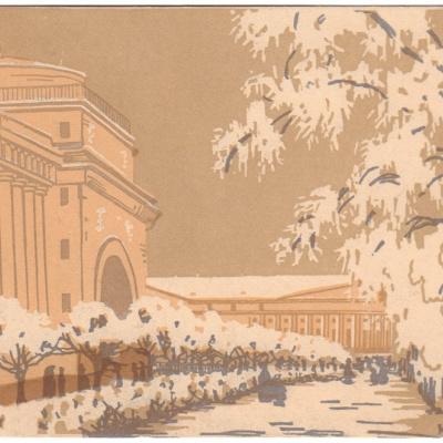 «Адмиралтейство под снегом» тоновая литография