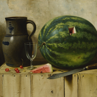 Still life with watermelon, jug and knife