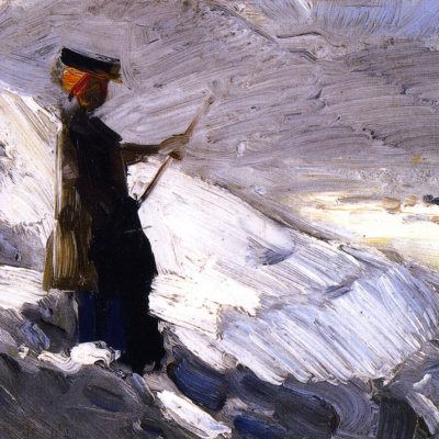 Woman on the background of the winter landscape