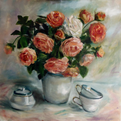"""Nata Charivna. Oil painting """"White in a pink bouquet"""""""