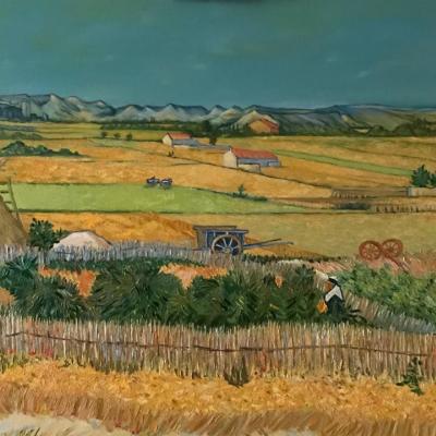"Free copy of ""Harvesting"" by Vincent Van Gogh"