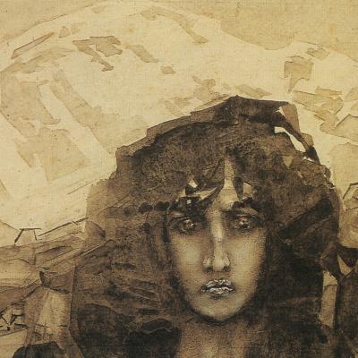 "The demon's head. Illustration to the poem by Mikhail Lermontov ""Demon"""