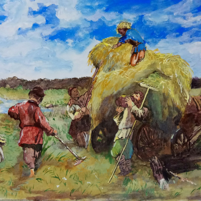 "Free picture of K. E. Makovsky ""the harvest and hay time is time"""