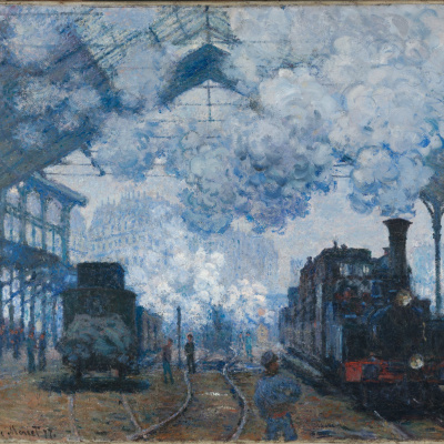 The Saint-Lazare station in Paris arrival of a train