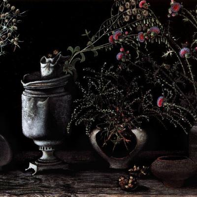 Свияжские цветы на чёрном фоне