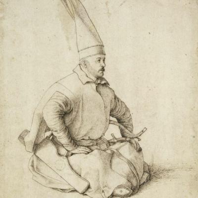 Сидящий янычар. Портрет турецкого мужчины