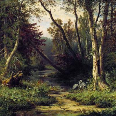 Лесной пейзаж с цаплями