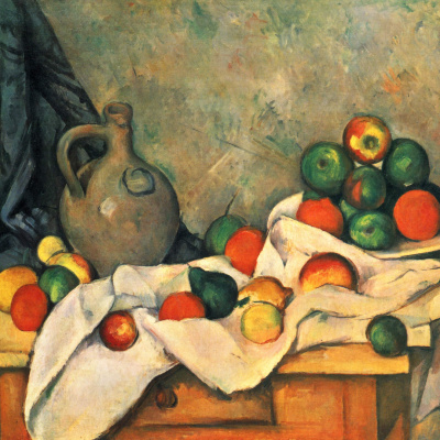 Curtain, Jug and Fruit Bowl