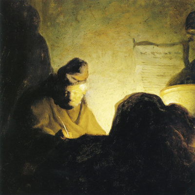 Gerrit (Gerard) Dow. Man, writing with a candle