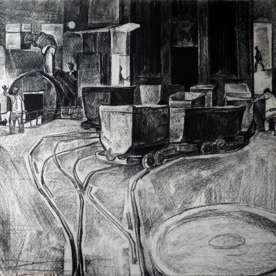 Kochegarka Mine. paper / charcoal. 47х55.