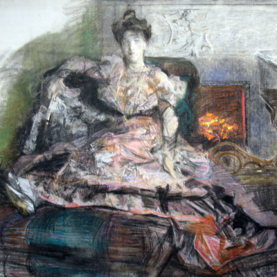 After the concert. Portrait of Nadezhda Ivanovna Zabela-Vrubel by the fireplace, in a dress designed by the artist