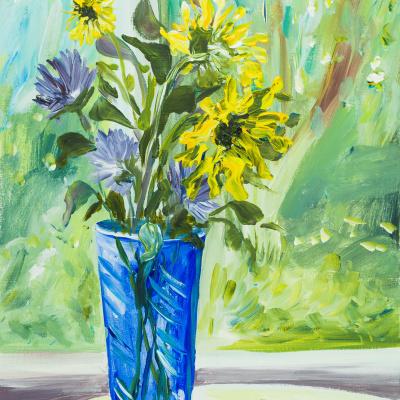 Синяя ваза