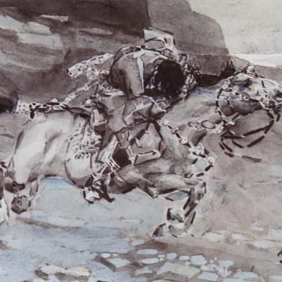"""Скачущий всадник (""""Несется конь быстрее лани...""""). Иллюстрация к поэме М.Ю. Лермонтова """"Демон"""""""