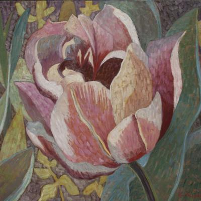 Странный тюльпан в саду 90х117 х. м. 2014