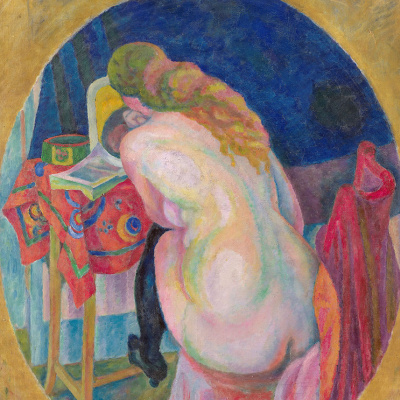 Nude woman with book
