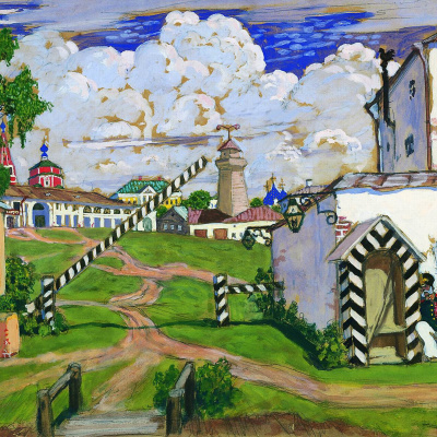"""Area on the outskirts of the city. Sketch of scenery for the play by A. N. Ostrovsky """"warm heart"""""""