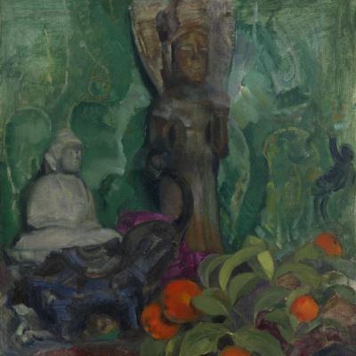 Buddha and oranges.
