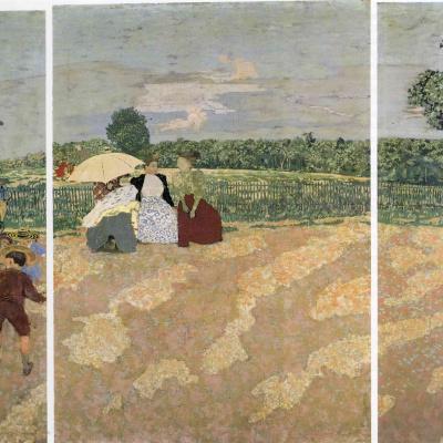 Триптих. Летний день в саду: Няня. Беседа. Красный зонт