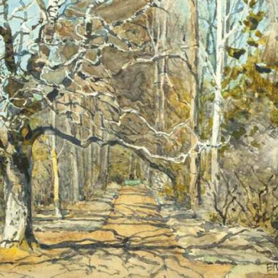 Alley in the early spring. Etude