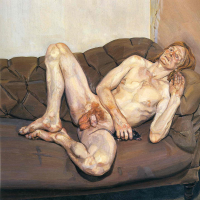 Nude man with rat