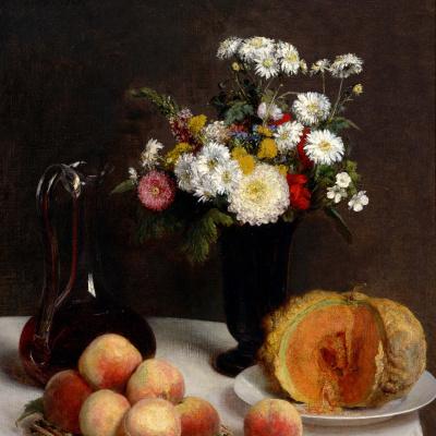 Натюрморт с графином, цветами и фруктами