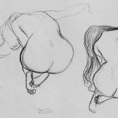 Two sketches sitting on my knees naked with long hair from behind