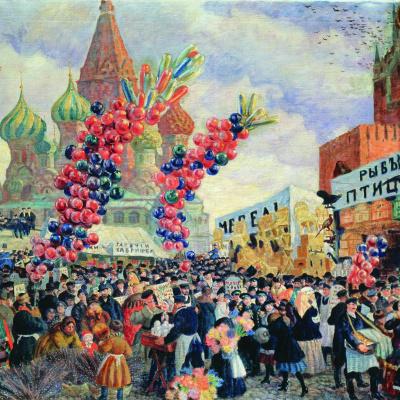 Вербный торг у Спасских ворот на Красной площади в Москве