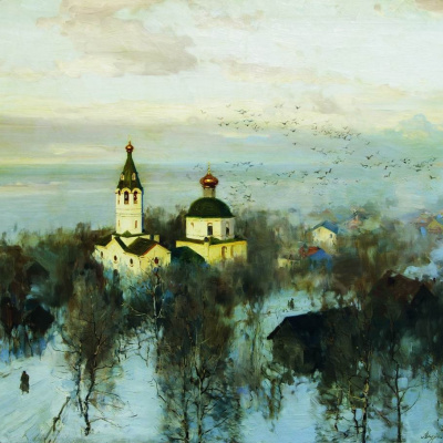 Пейзаж с белой церквью