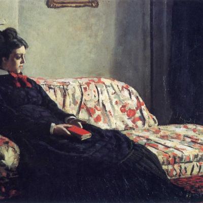 Reflection. Madame Monet on the sofa