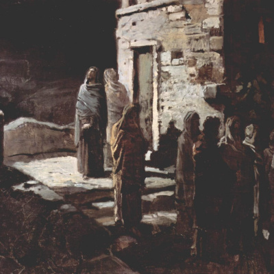 Христос с учениками входит в Гефсиманский сад