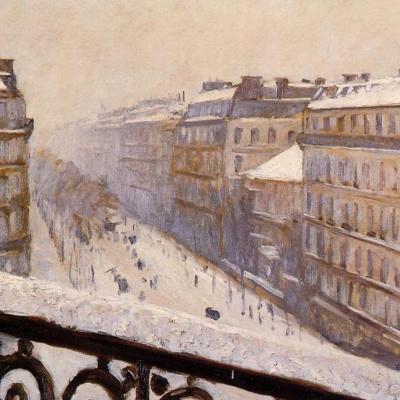 Boulevard Haussmann in the snow. Paris