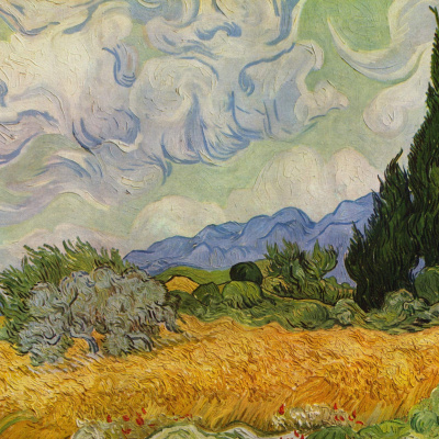 Wheat field with cypresses (option)