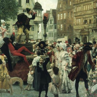 Клоун на ярмарочной сцене (Роспись для Бургтеатра, Вена)