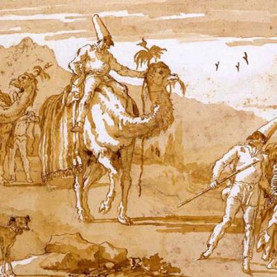 Пульчинелла возглавляет караван верхом на верблюде
