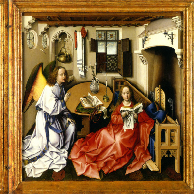 The Altar Of Merode. The Annunciation Of The Blessed Virgin. Central scene: the Annunciation, left wing: Donors, right wing: Joseph in the workshop