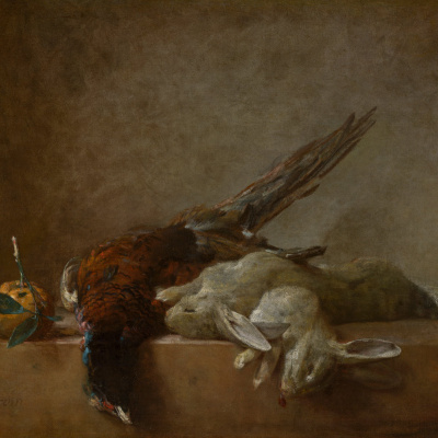 Still life with game: rabbits and pheasant