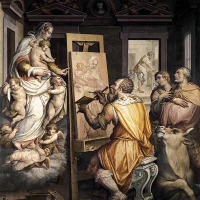 Saint Luke paints a portrait of the virgin
