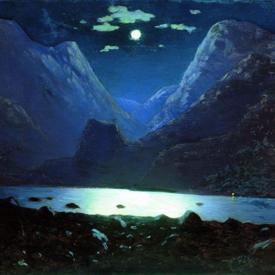 Dariali gorge. Moonlit night