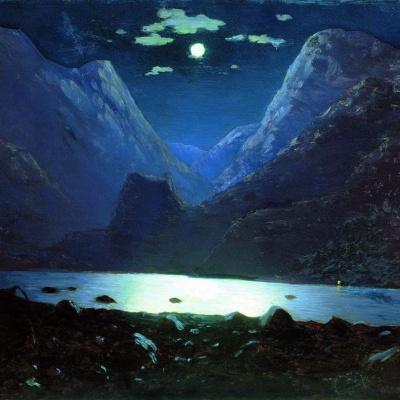 Dariali gorge. Moonlit night